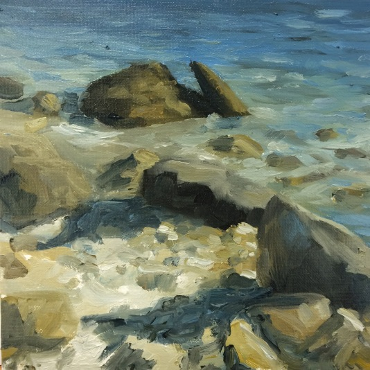 'Lime And Rocks', 25x25 cm, oil (sold)